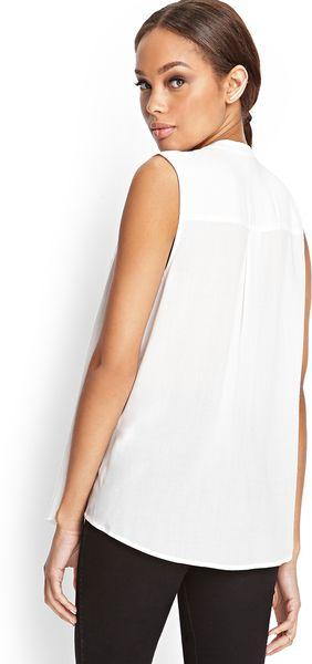 Forever 21 Sleeveless Mandarin Collar Shirt In White Lyst