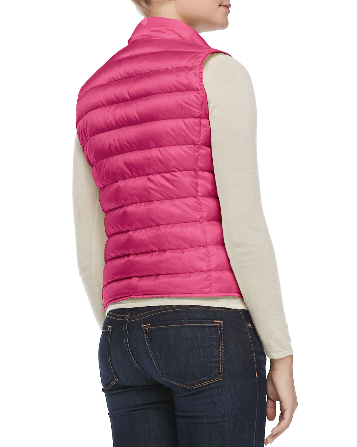 2aa2a4a2e8de ... coupon lyst moncler liane puffer vest in pink a684e fdc10