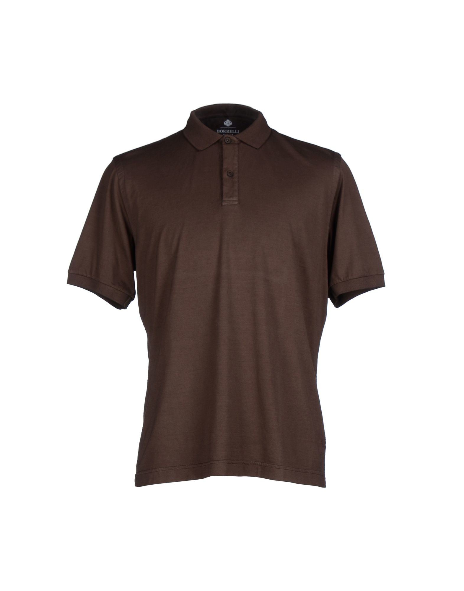 Lyst luigi borrelli napoli polo shirt in brown for men for Black brown mens shirts
