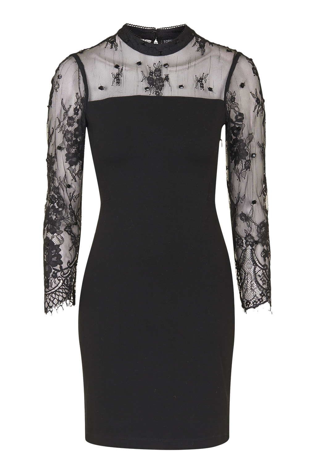 c1184b577ca2 TOPSHOP Beaded Lace Bodycon Dress in Black - Lyst