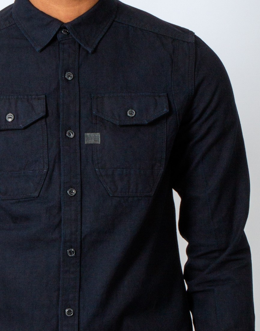 g star raw wolker indigo straight long sleeve shirt in blue for men lyst. Black Bedroom Furniture Sets. Home Design Ideas