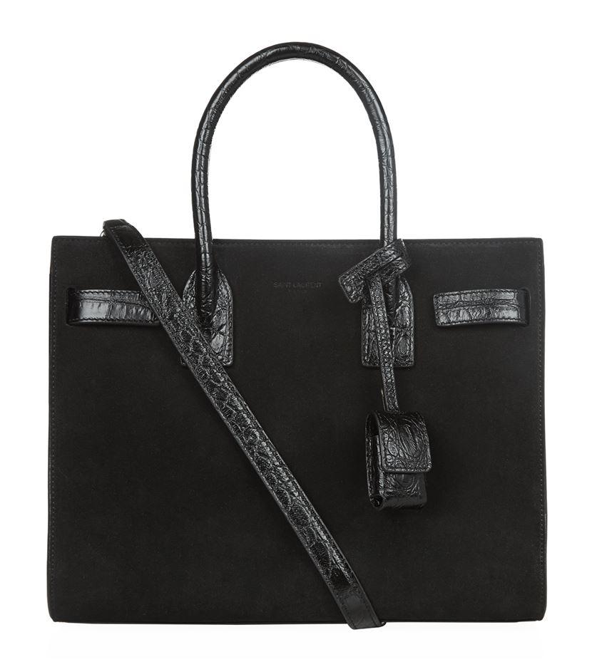Saint Laurent Baby Sac De Jour Suede Croc Embossed Bag In