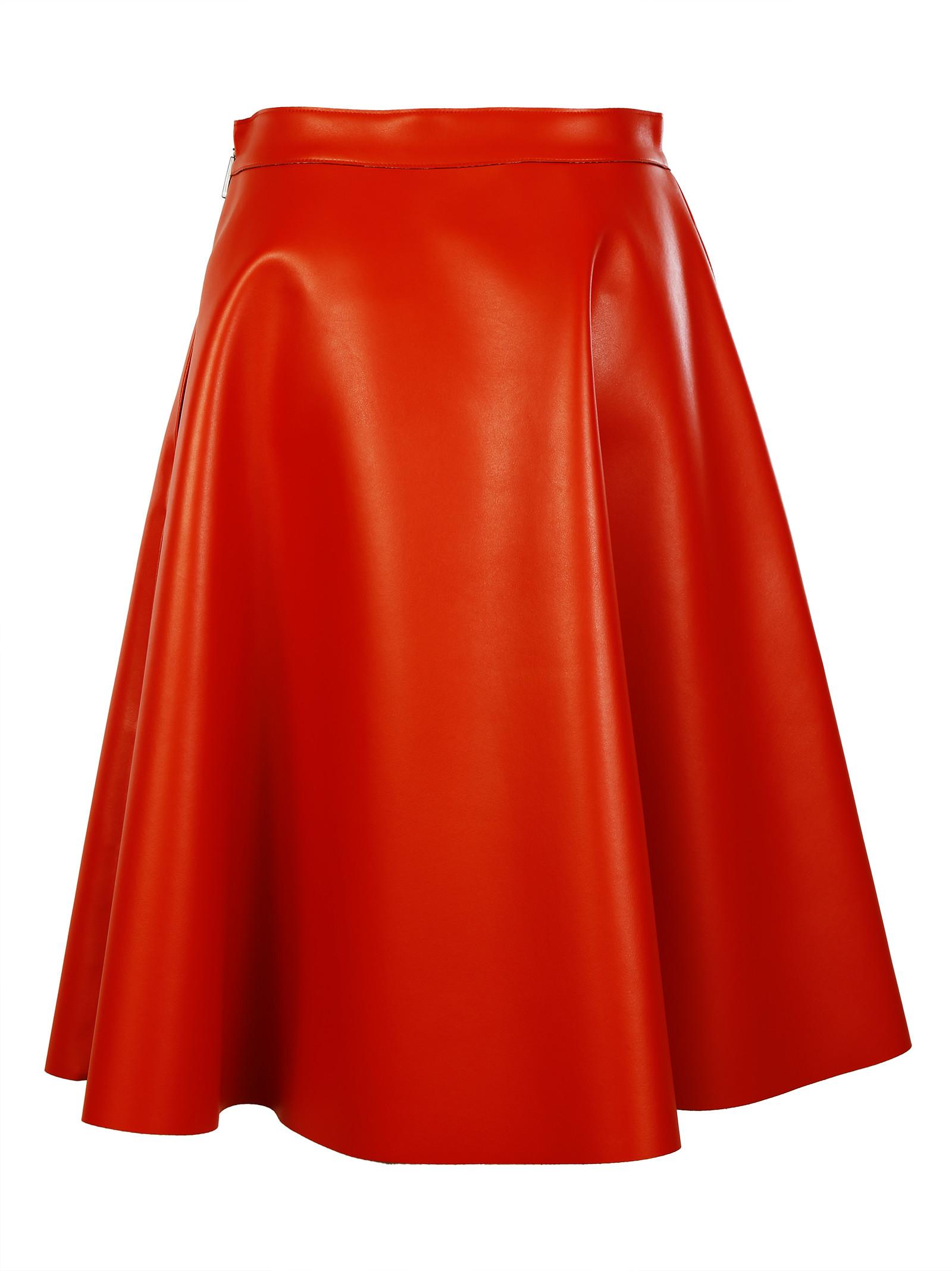 msgm similar leather skirt in orange lyst