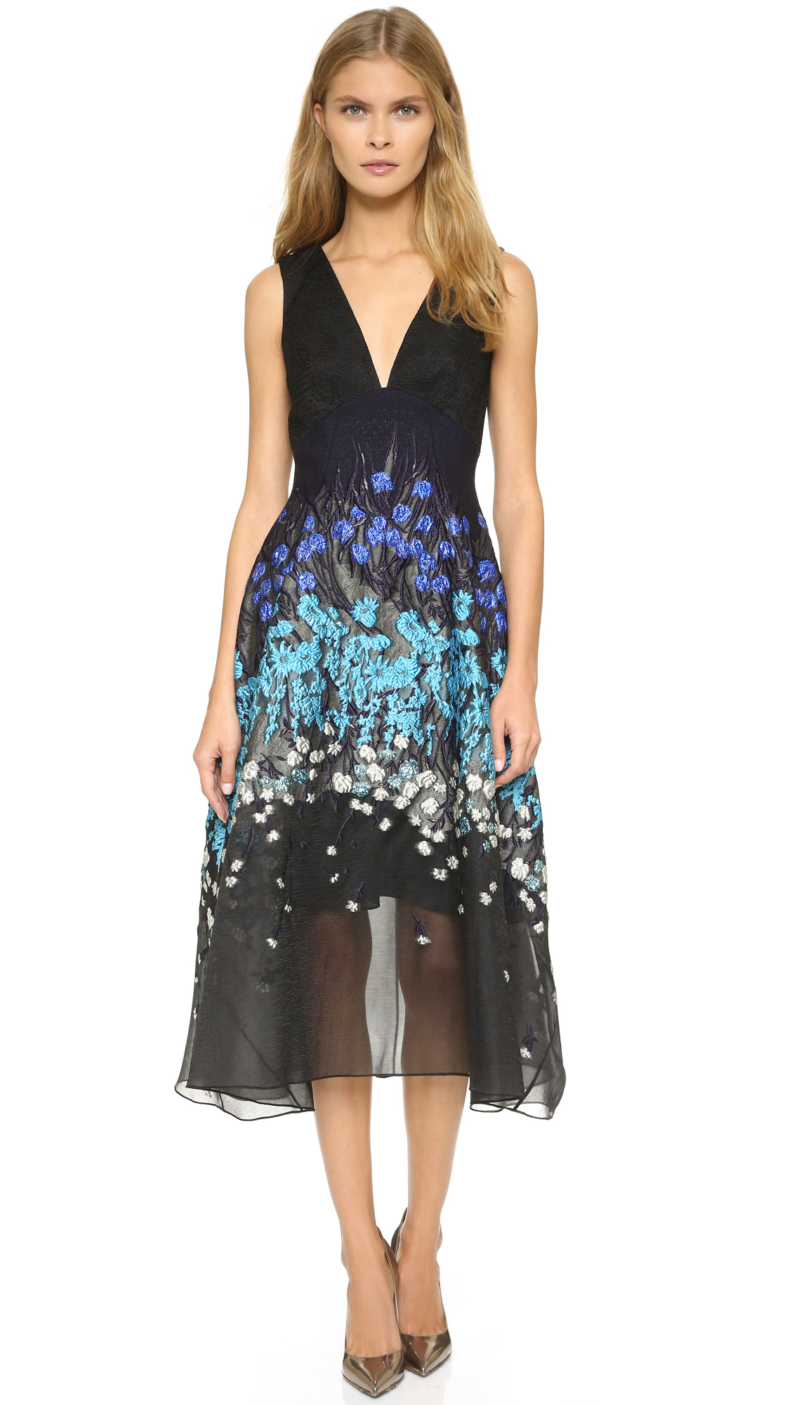 a0f281d5cf6e Lyst - Lela Rose Wool   Silk-blend Midi Dress in Blue