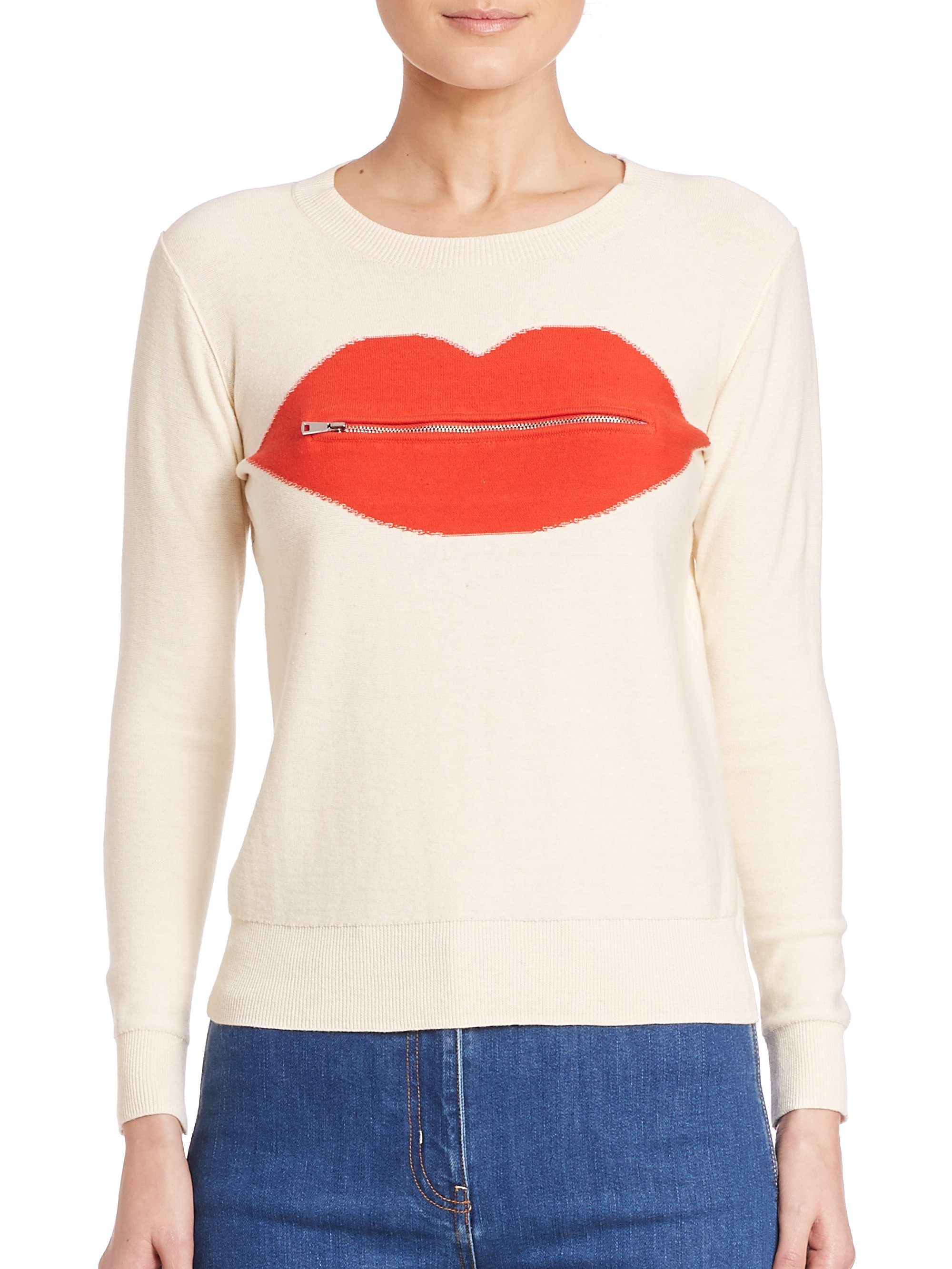 a714878de4be Sonia by Sonia Rykiel Intarsia Zippered Lip Sweater in Red - Lyst