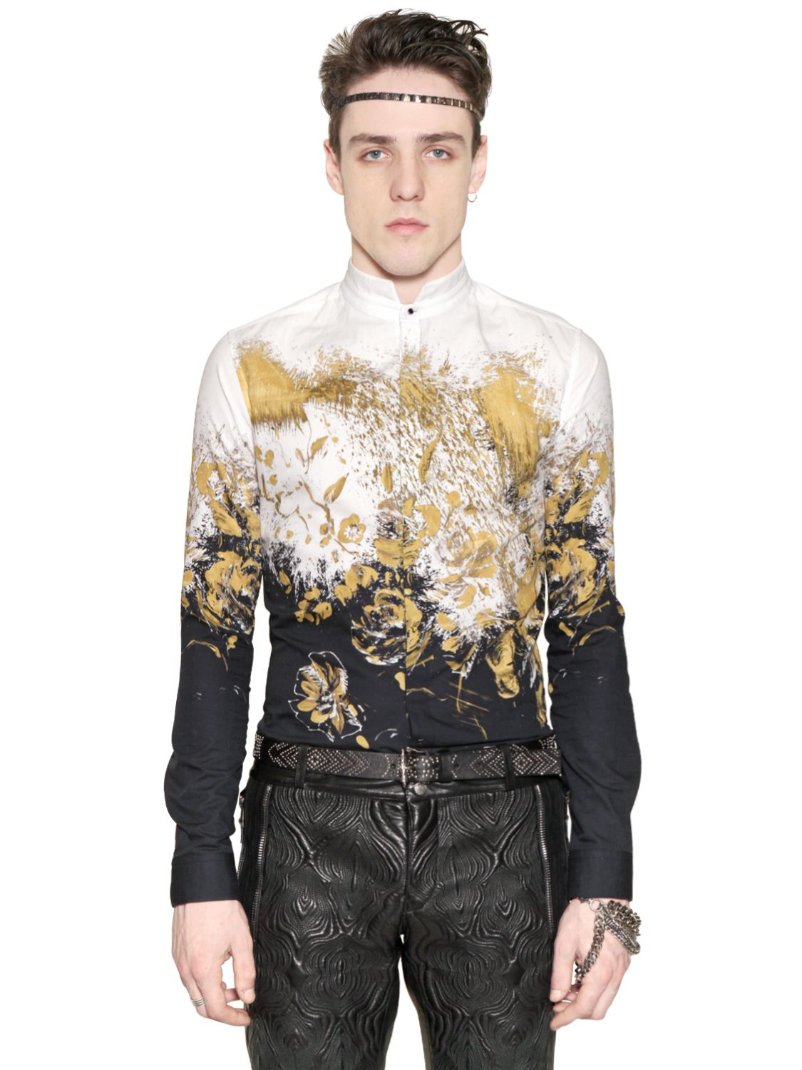Roberto Cavalli Paint Attack Printed Cotton Poplin Shirt
