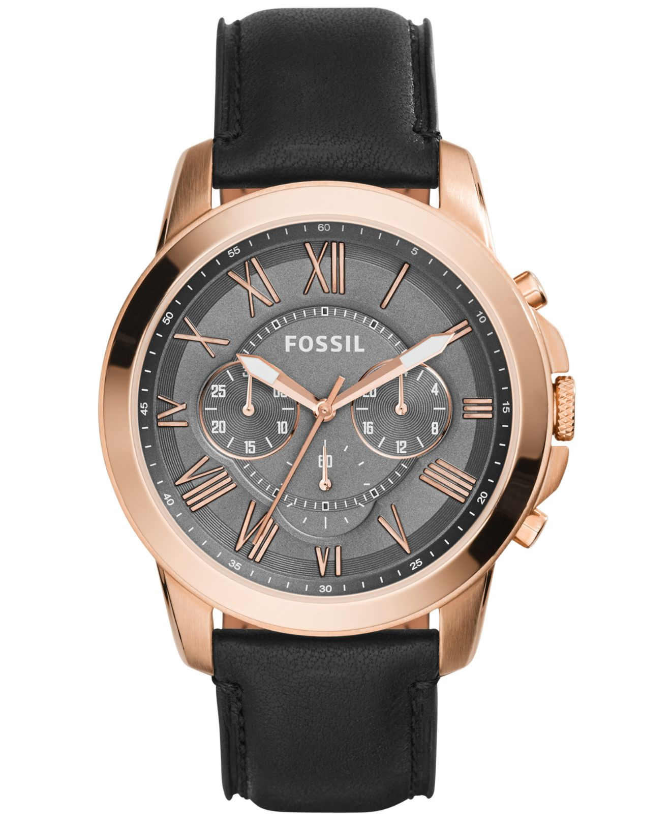 Fossil men 39 s chronograph grant black leather strap watch 45mm fs5085 in black for men lyst for Black leather strap men
