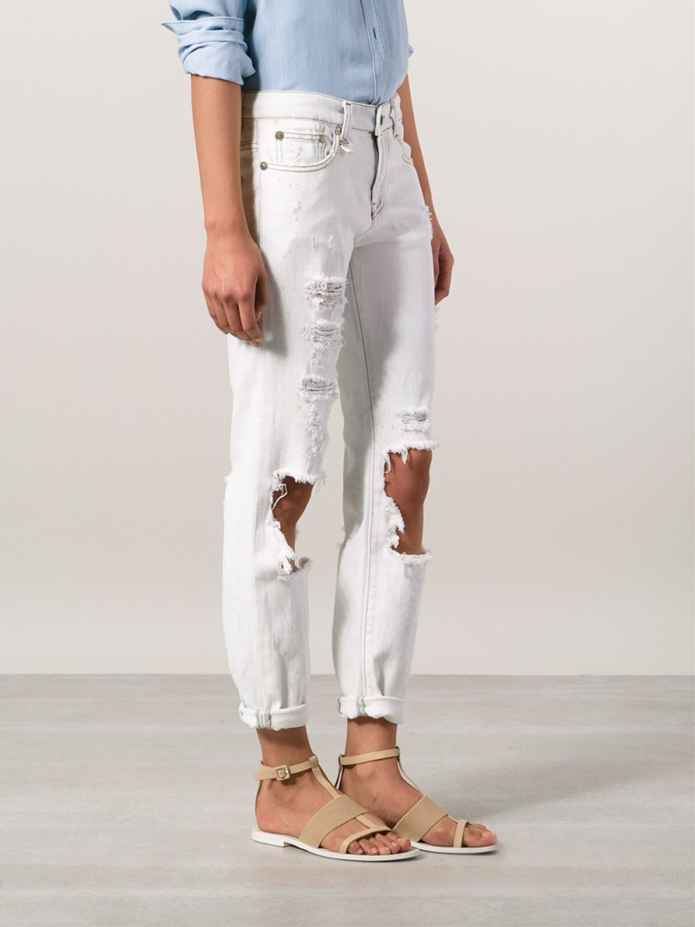 R13 Distressed Skinny Jeans in White | Lyst