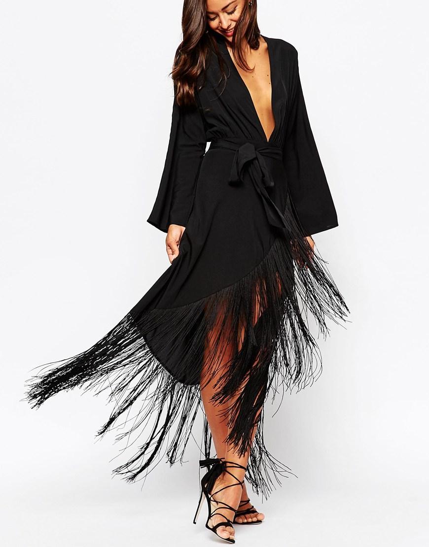Asos Fringe Deep Plunge Maxi Dress in Black | Lyst