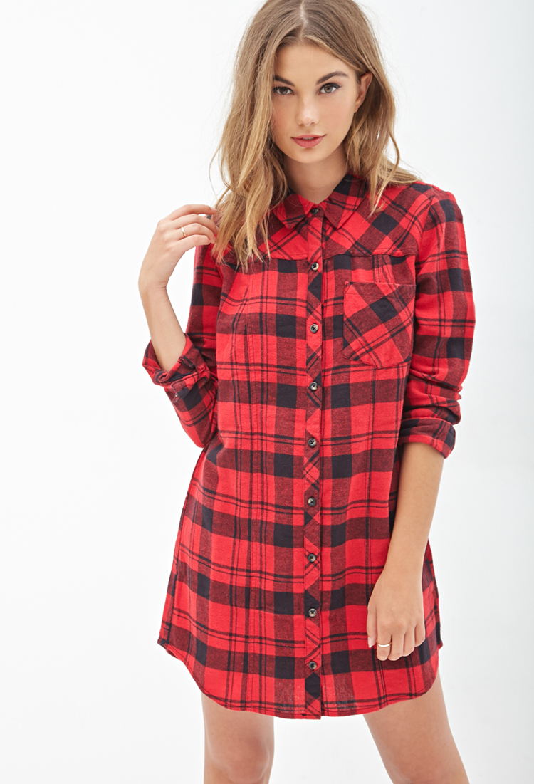 6895a497f9f Lyst - Forever 21 Tartan Plaid Flannel Shirtdress in Red