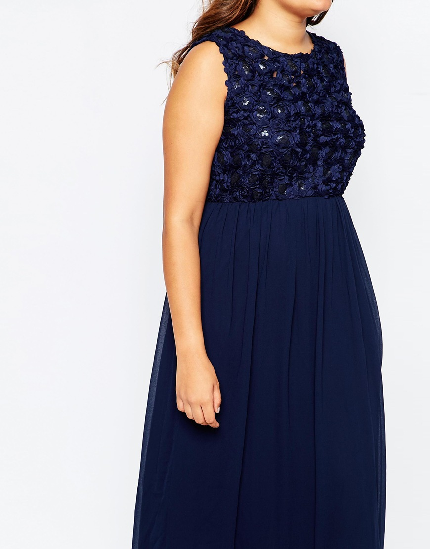 Blue Floral Maxi Dress Plus Size