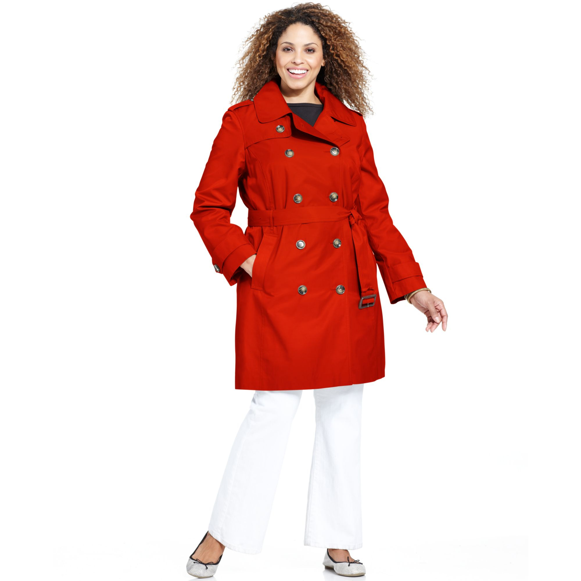00471c083f3 Lyst - London Fog Plus Size Hooded Belted Trench Coat in Red
