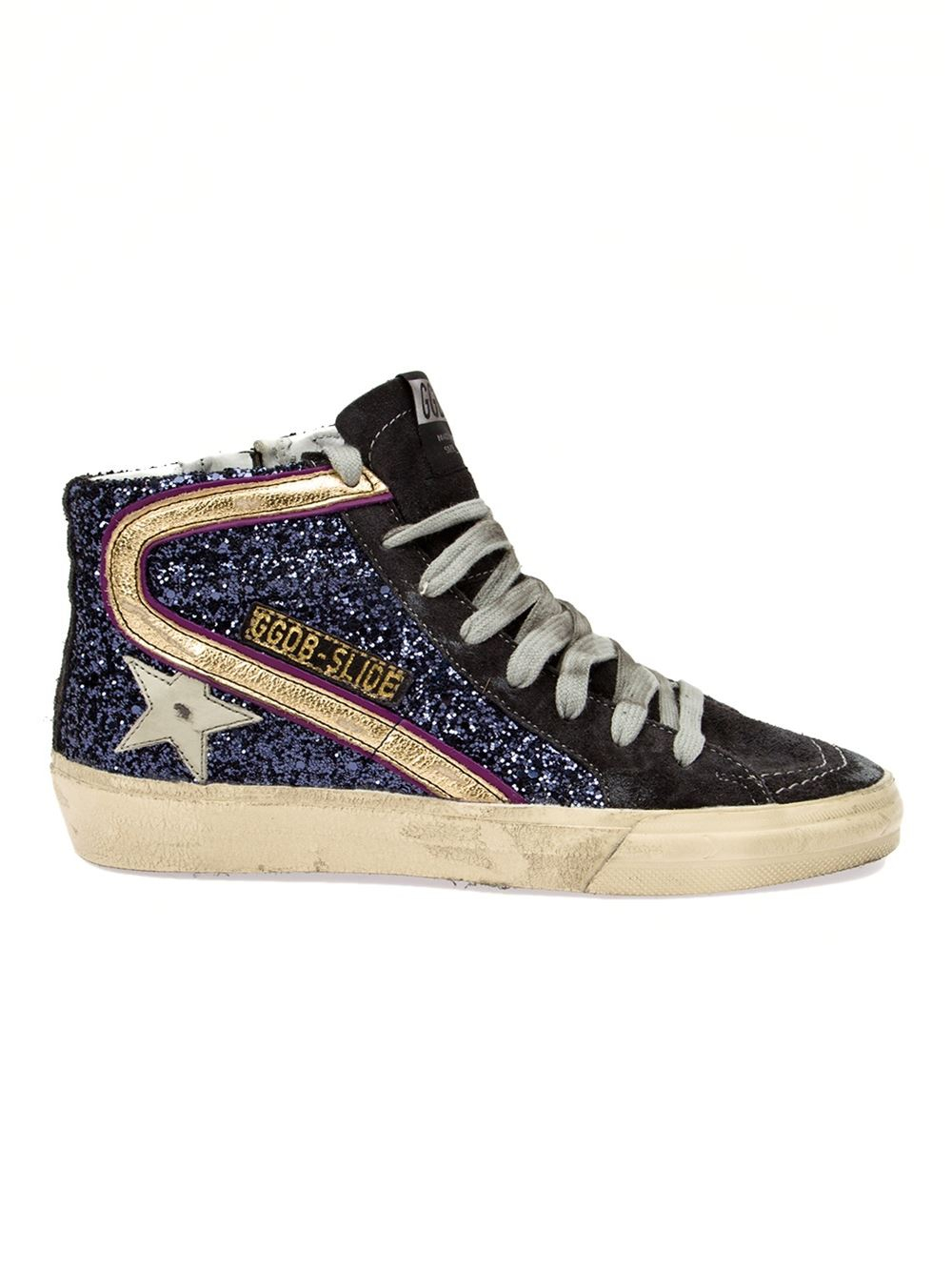 lyst golden goose deluxe brand glitter hi top sneakers in blue. Black Bedroom Furniture Sets. Home Design Ideas