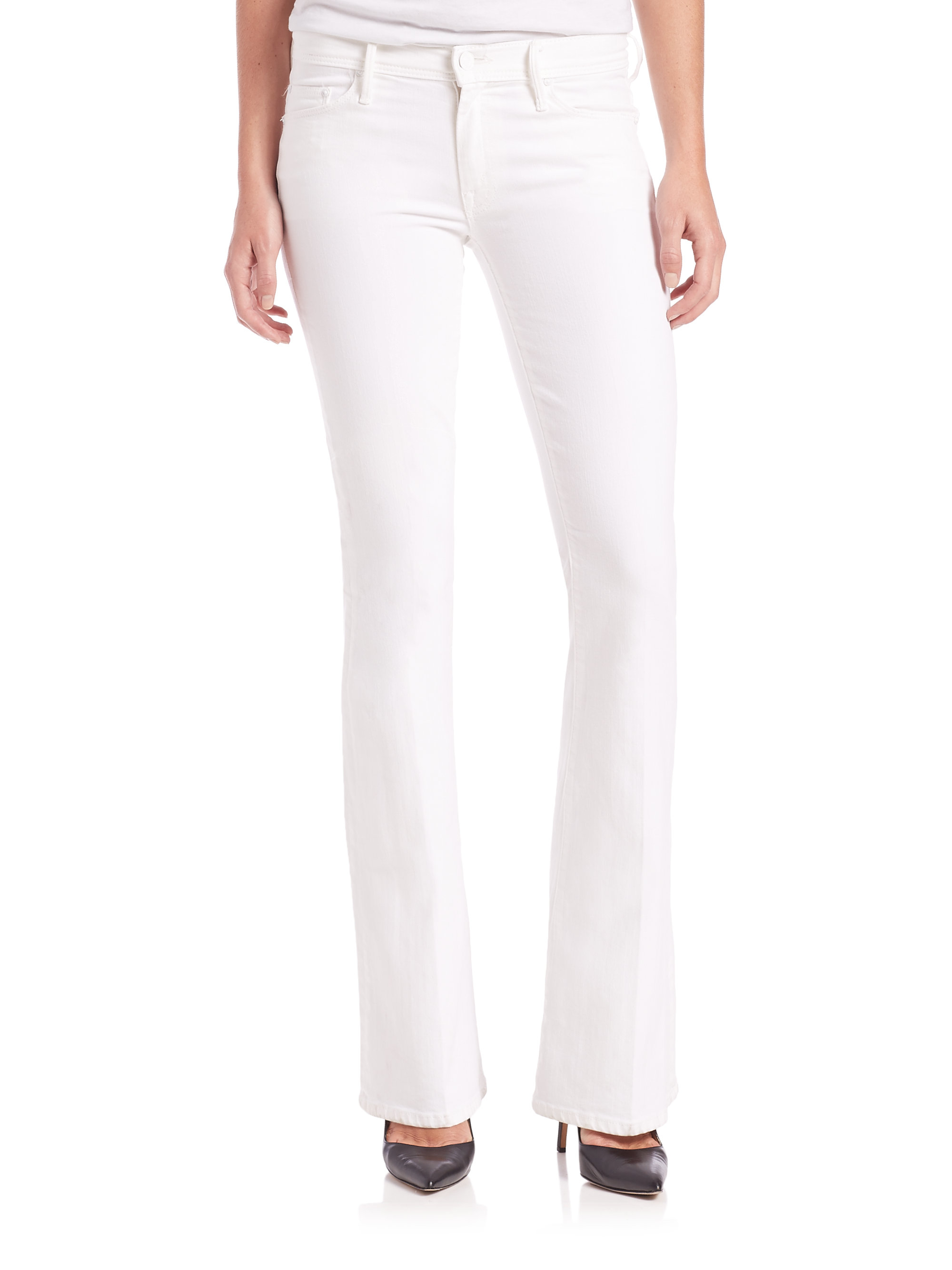 Mother The Cruiser Flared Jeans in White | Lyst