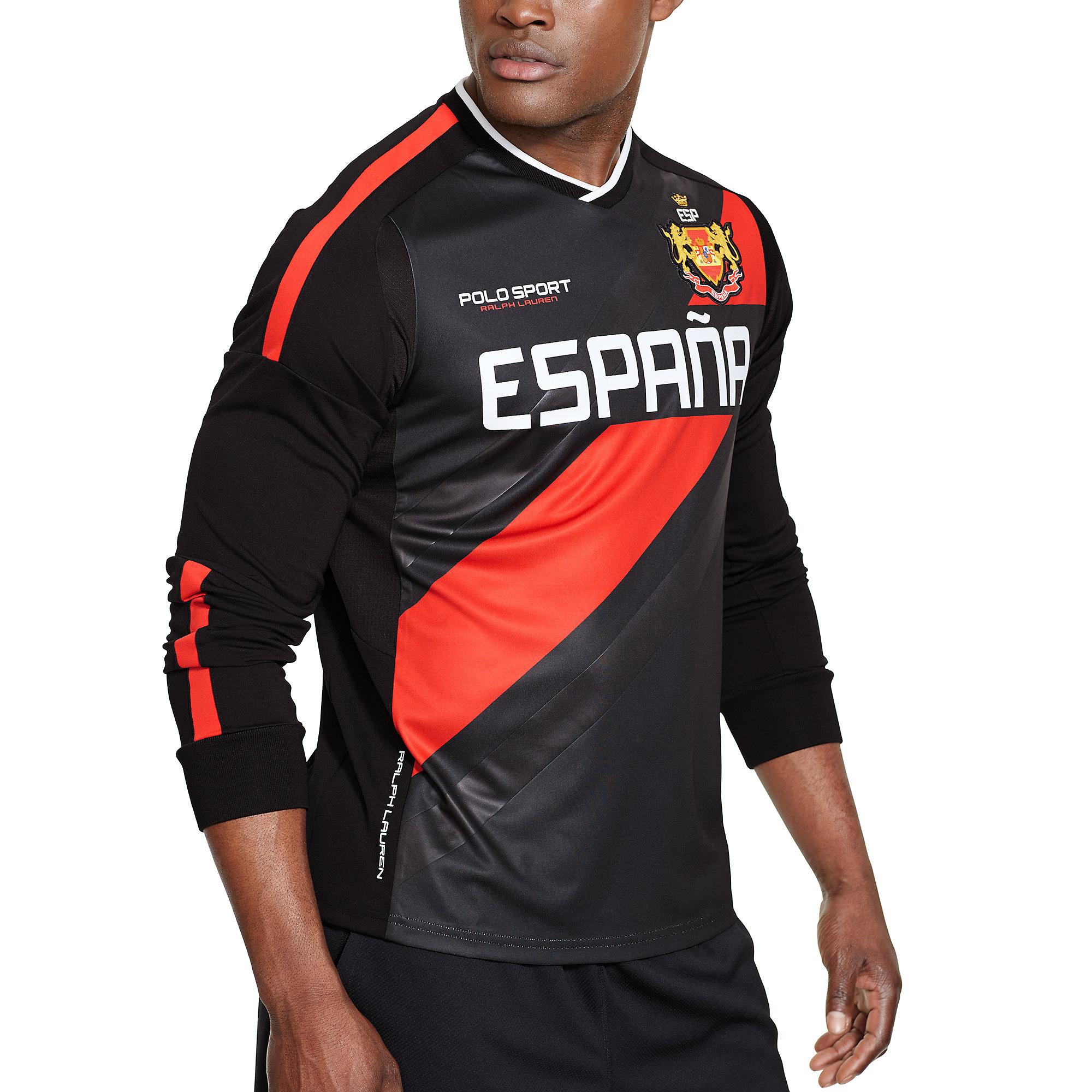 Lyst ralph lauren spain long sleeved t shirt in red for men for Ralph lauren polo jersey shirt