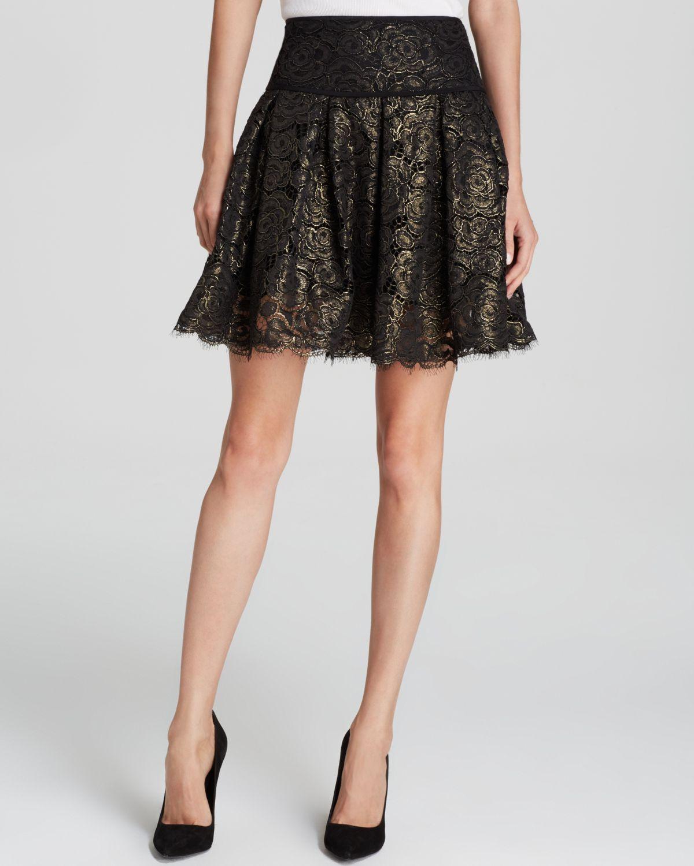 Lyst Dkny Metallic Floral Lace Mini Skirt Bloomingdale