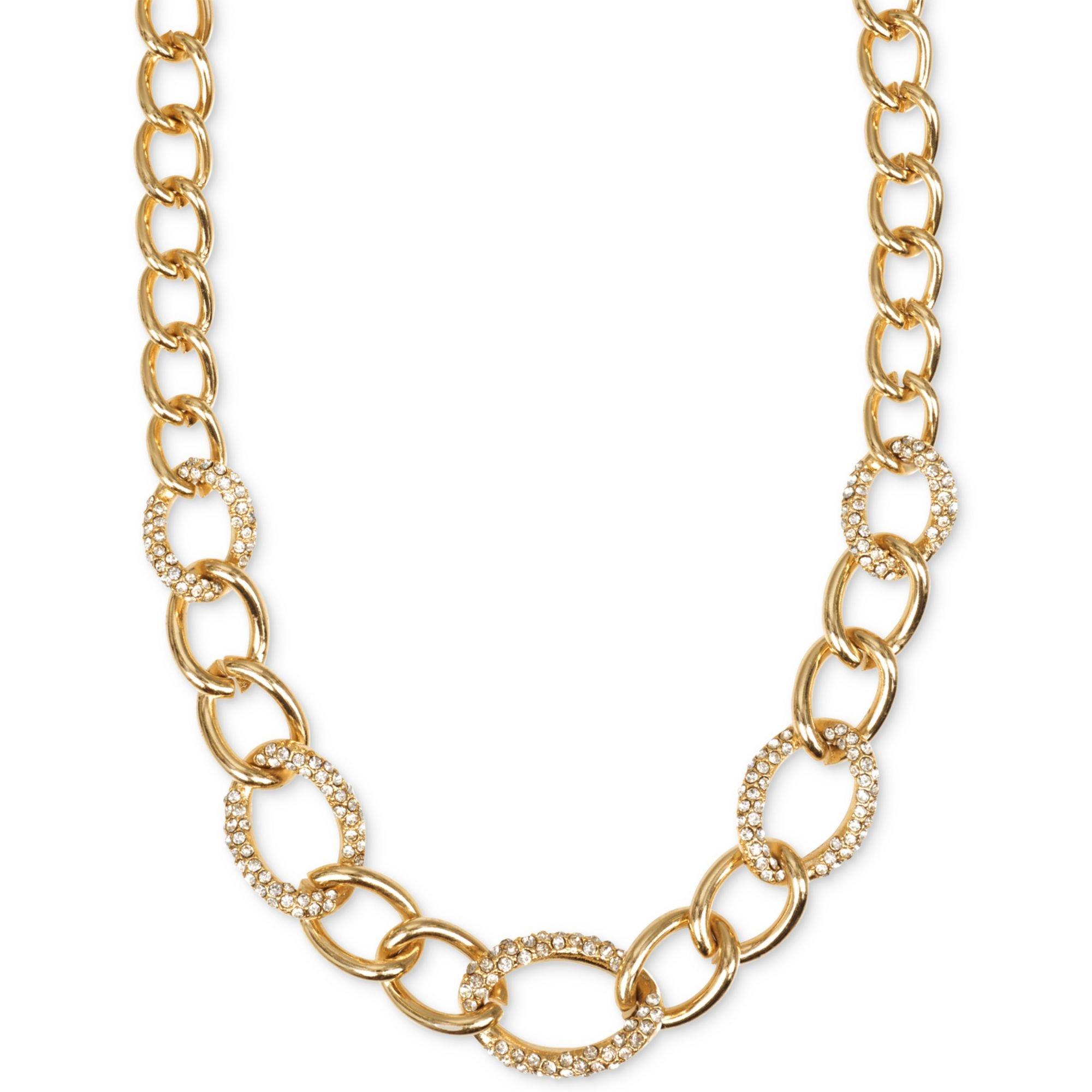 jones new york goldtone pave crystal link collar necklace. Black Bedroom Furniture Sets. Home Design Ideas