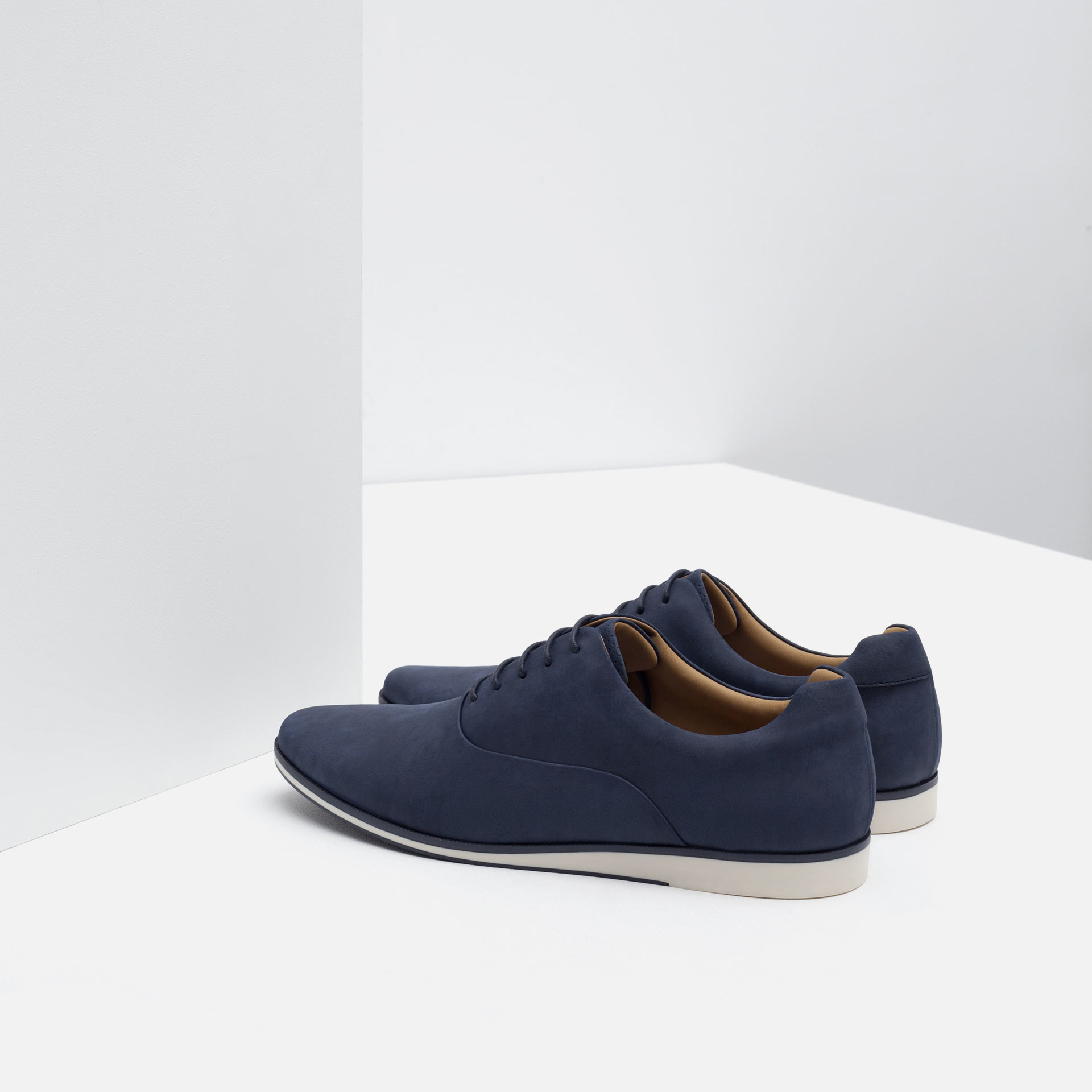 Zara Faux-Leather Oxford Shoes In Blue For Men | Lyst