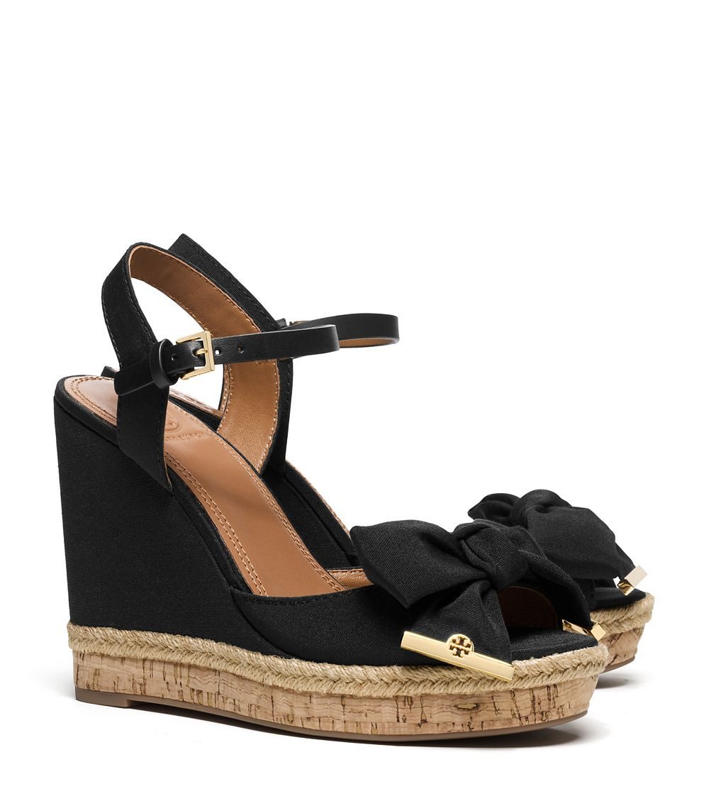 e5959bccb3b8c Lyst - Tory Burch Penny Wedge Sandal in Black