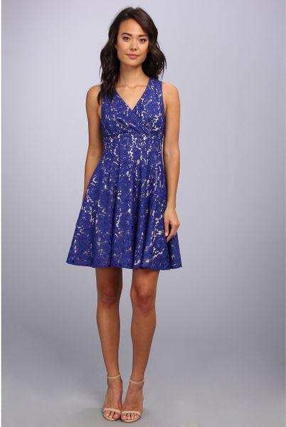 Eliza J Lace Surplice Dress In Blue Royal Lyst