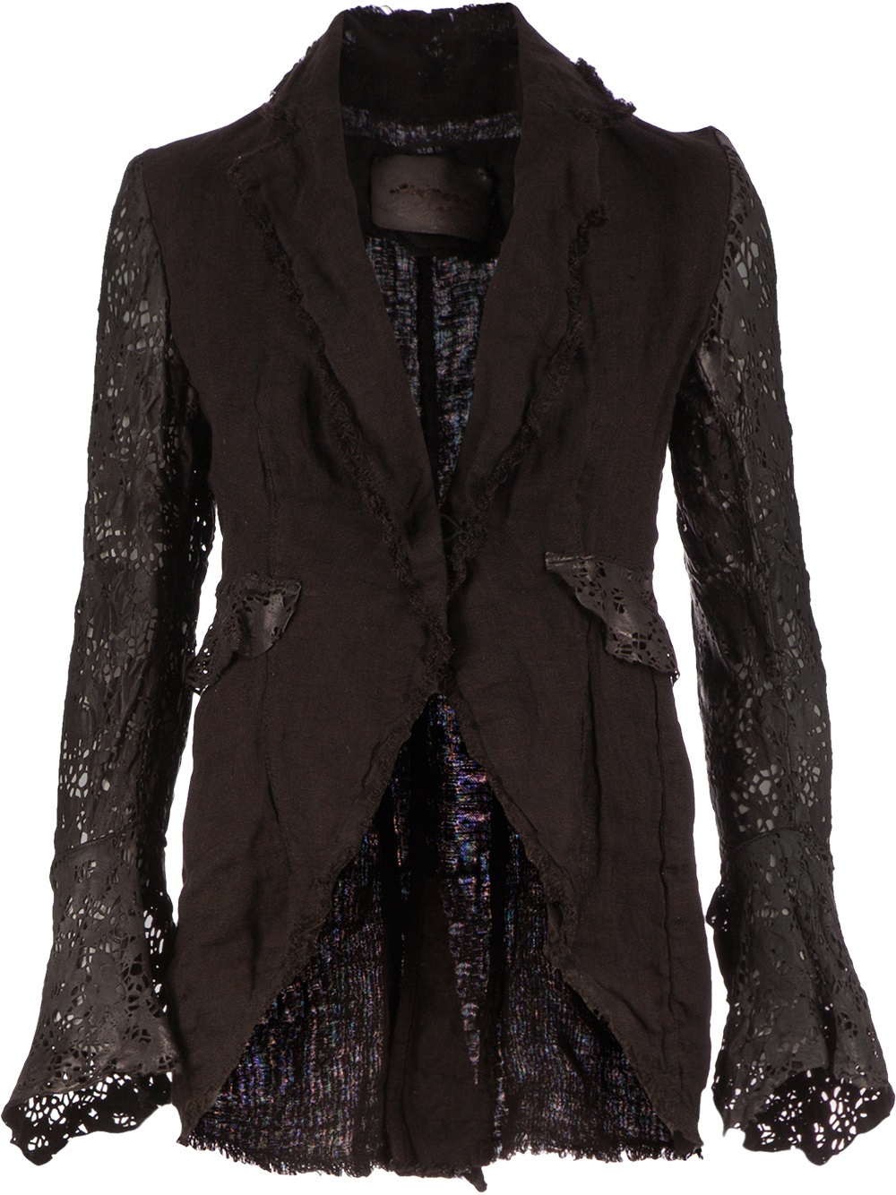 Le Cuir Perdu Laced Detail Jacket In Black Lyst