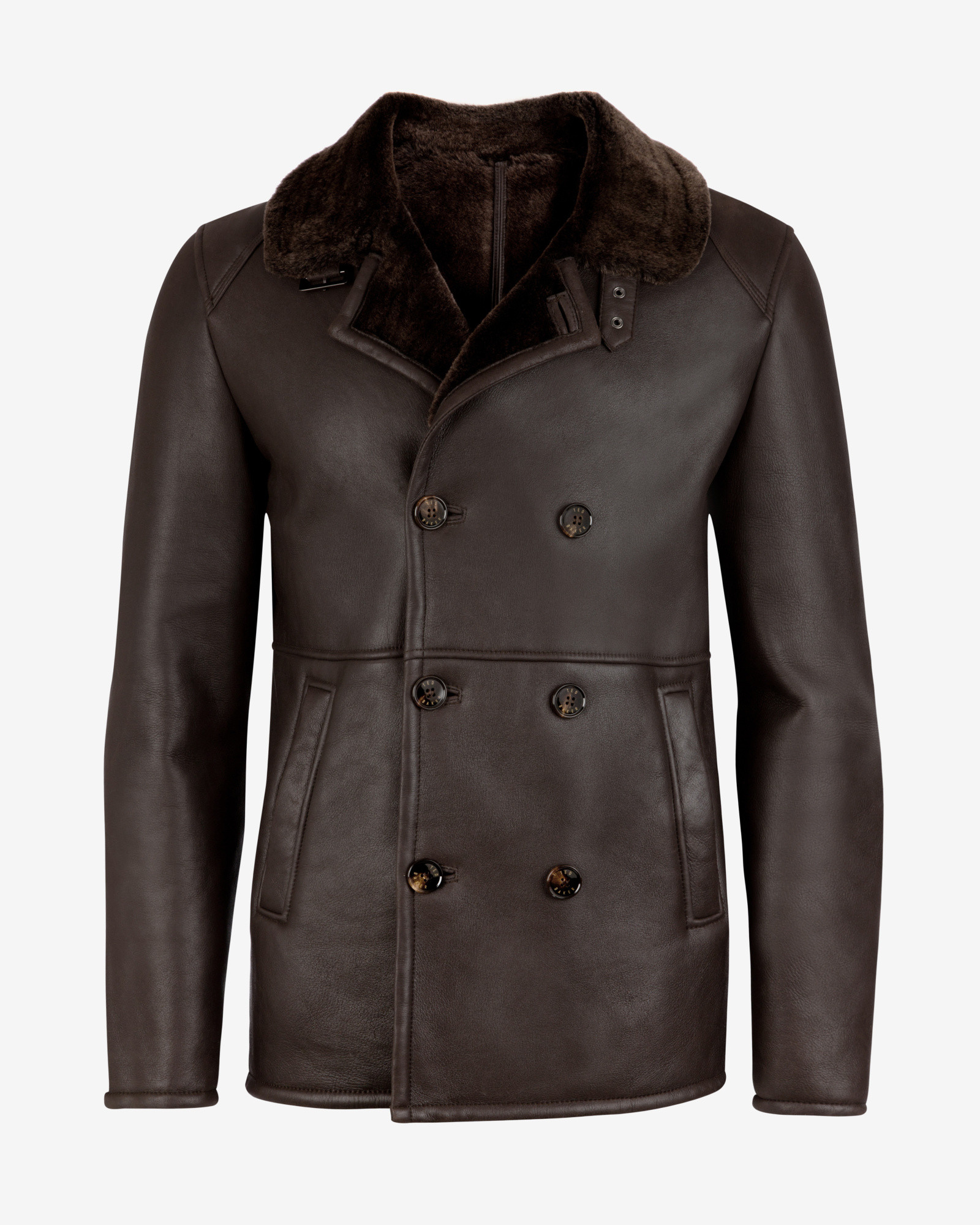 Ted Baker Deluxe Shearling Leather Pea Coat In Brown For