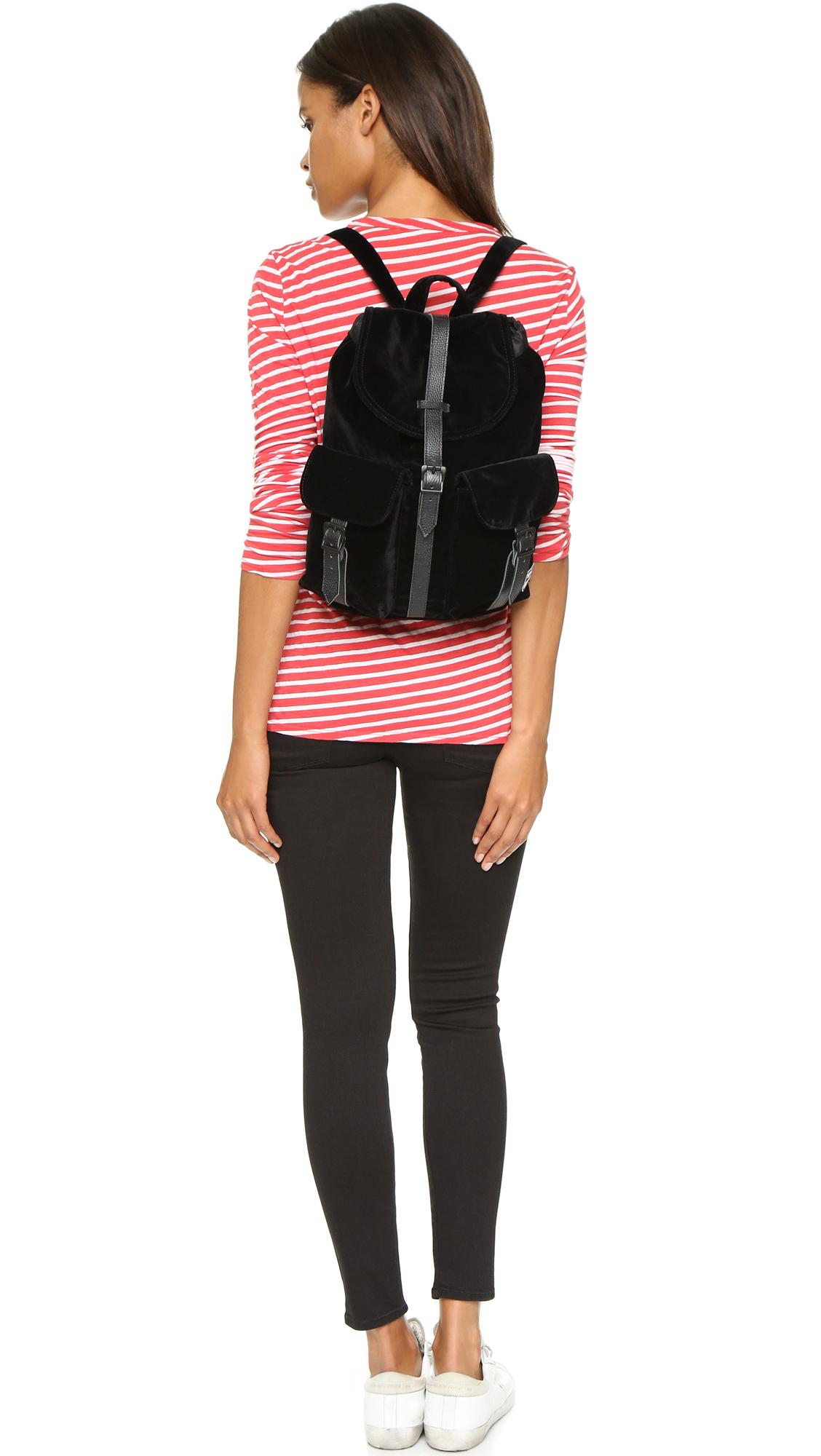 0f924a743f Lyst - Herschel Supply Co. Velvet Dawson Backpack - Black in Black