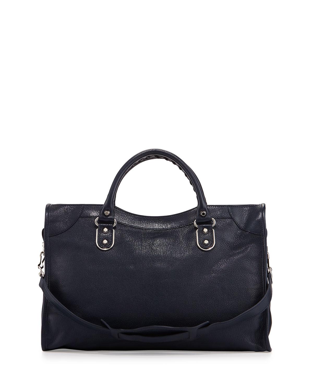 96b1d8e38a88 Lyst - Balenciaga Metallic Edge City Goatskin Bag in Blue