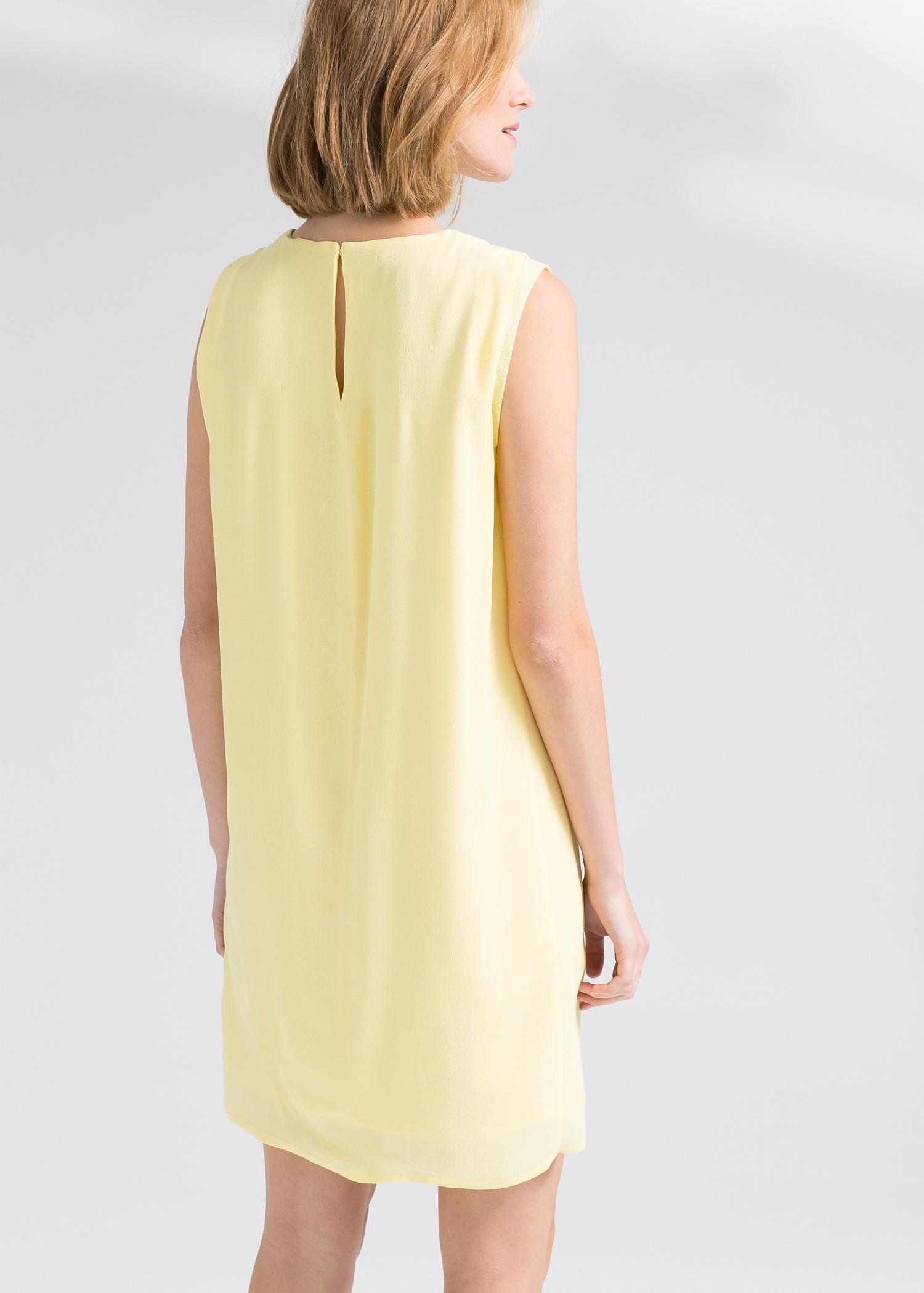 Lyst Mango Textured Shift Dress In Yellow