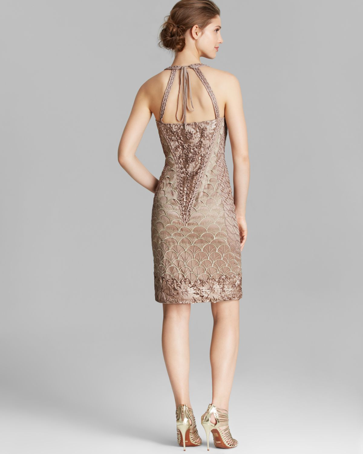 Sue wong Dress - Sleeveless V Neck Embroidered Open Back Sheath in ...