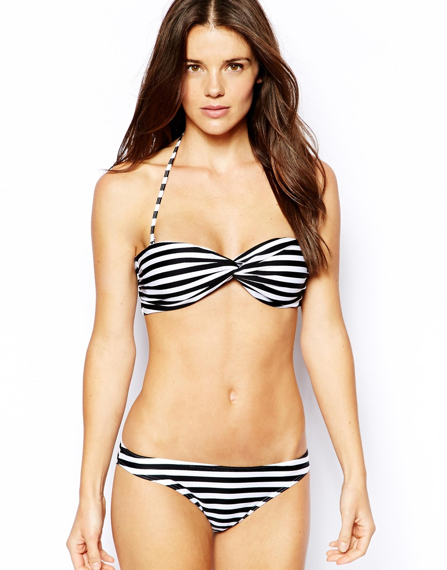 8fa53539bb3fb Lyst - ASOS Mix   Match Stripe Twist Bandeau Bikini Top With Tie ...