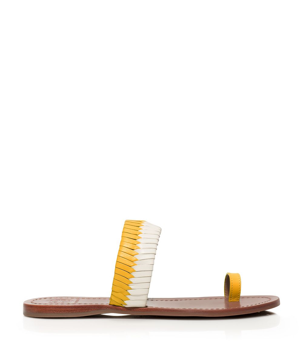 Lyst Tory Burch Bi Color Woven Flat Slide In Yellow