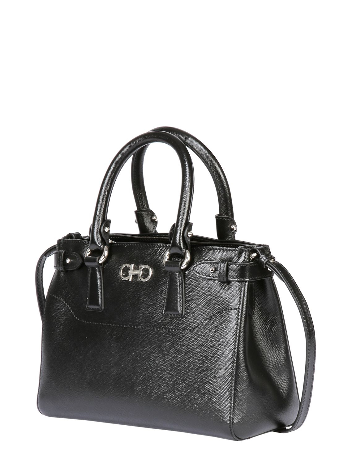 Lyst - Ferragamo Small Batik Saffiano Leather Top Handle in Black 0661304eb16ef