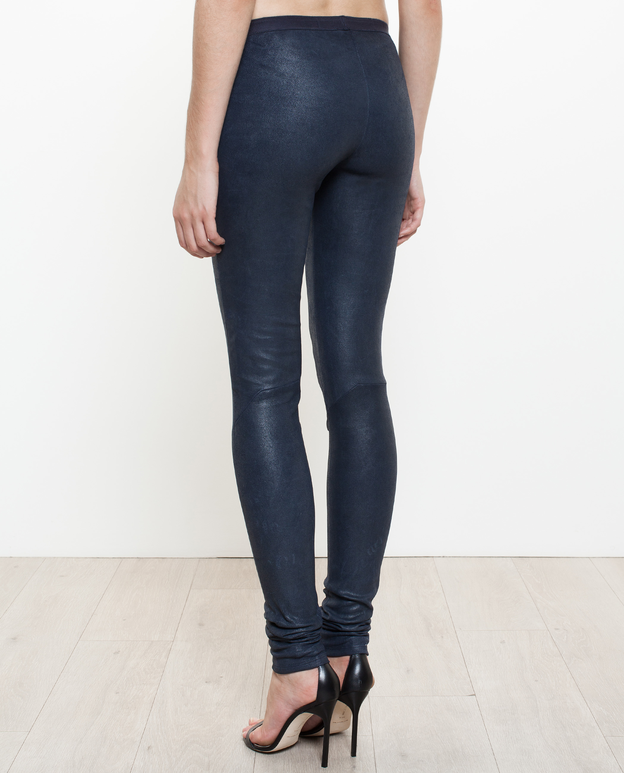 Rick owens Leather Leggings in Blue | Lyst
