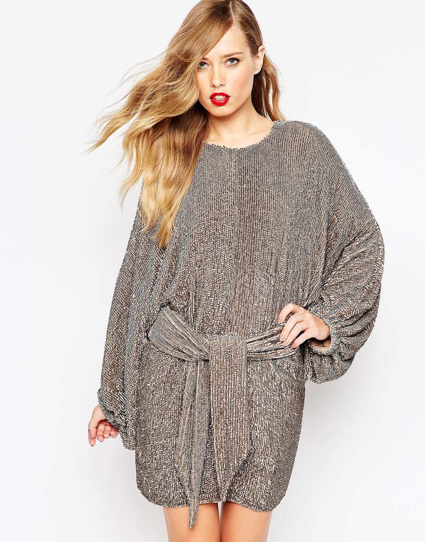 Asos Red Carpet Oversized Kaftan Mini Dress In Sequin In