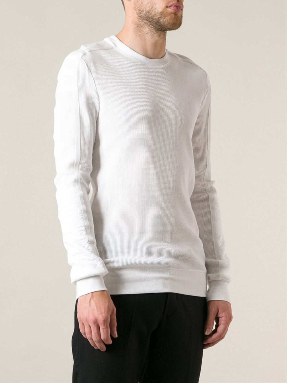 29f0f70d752e4b Lyst - Helmut Lang Waffle Weave Sweater in White for Men