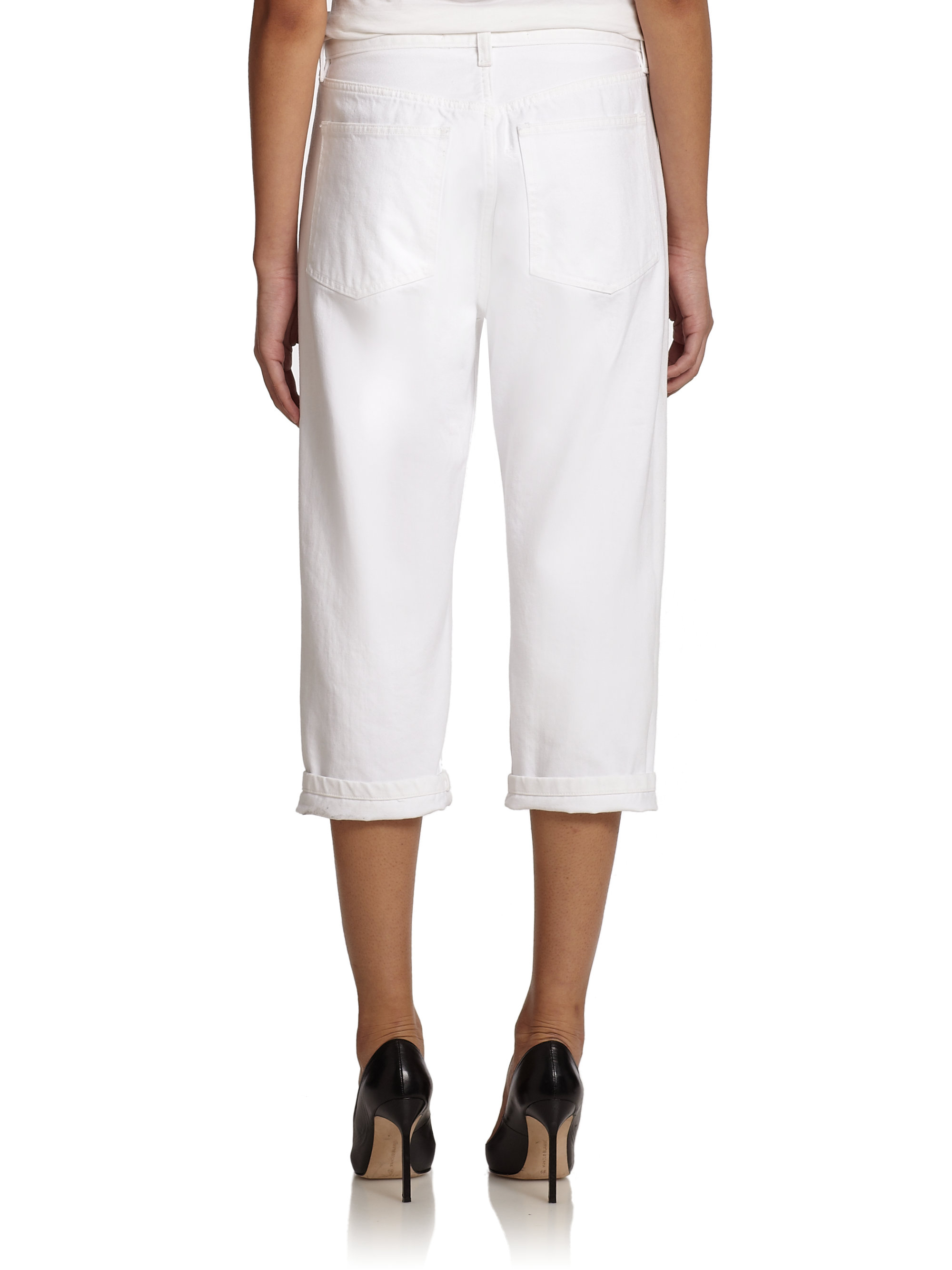 Marc by jacobs embroidered cropped straight leg jeans