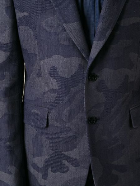 Valentino Jacquard Camouflage Print Suit In Blue For Men