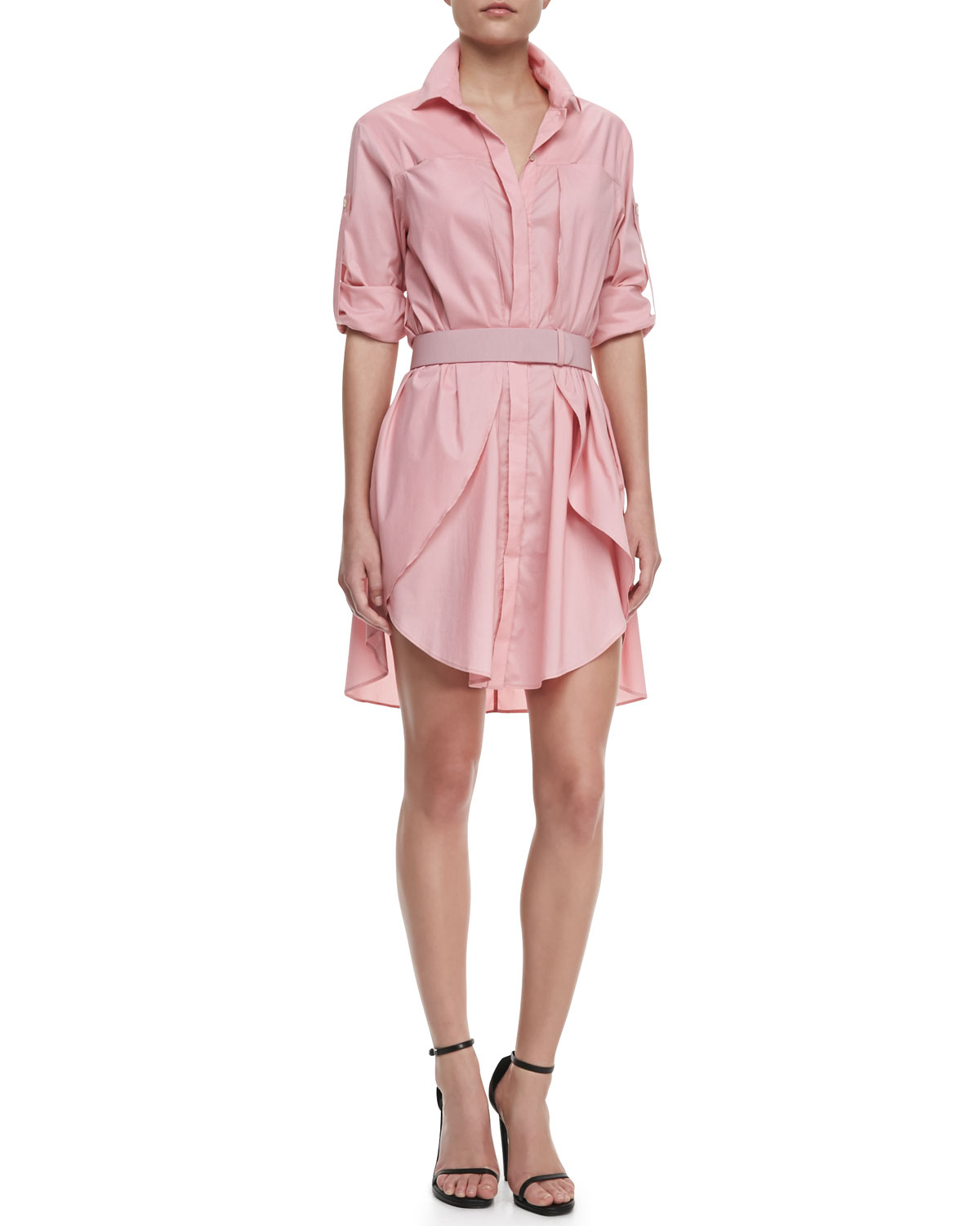 Halston heritage long slv voile shirt in pink cameo lyst for Halston heritage shirt dress