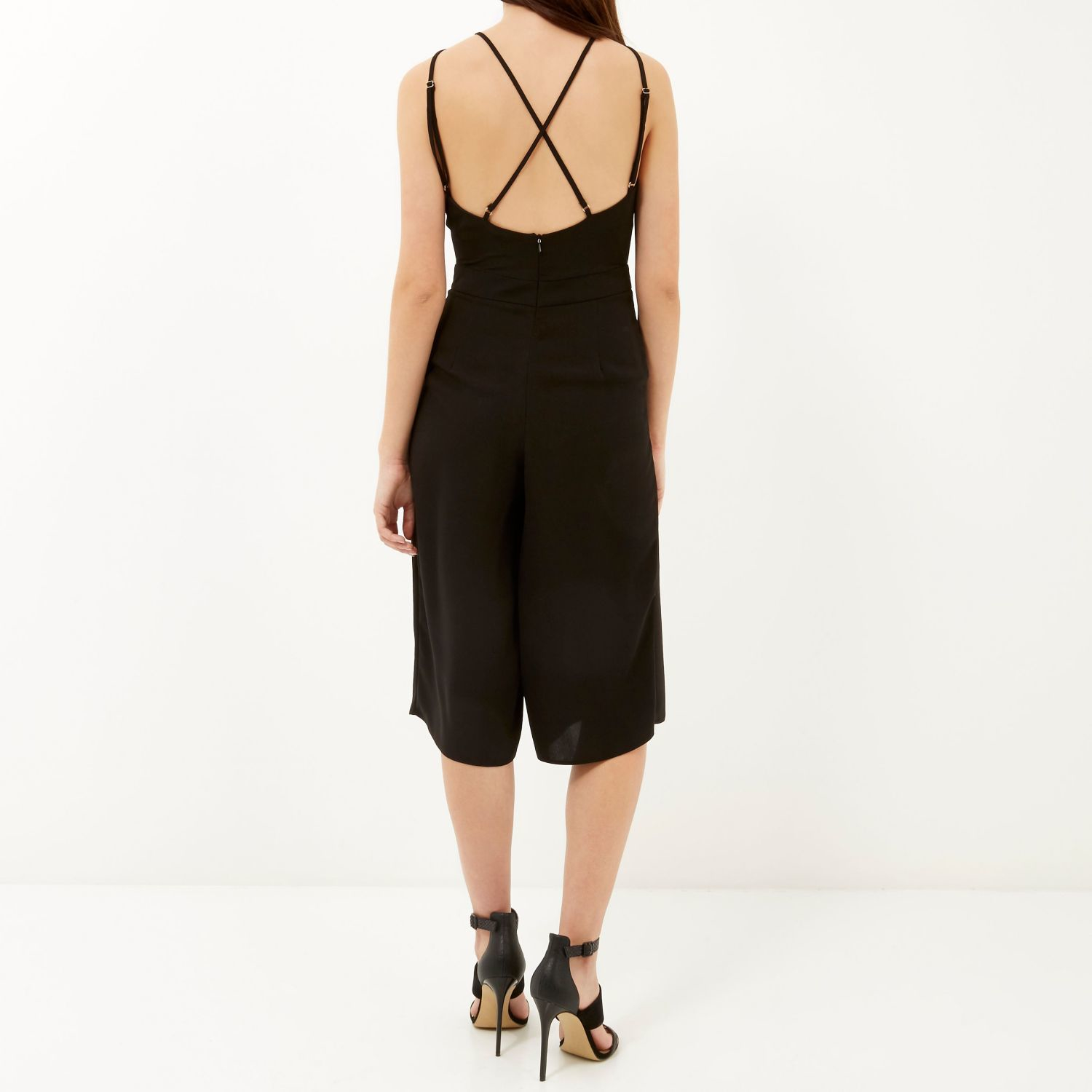 75c29187e58b River Island Black Strappy Cropped Jumpsuit in Black - Lyst