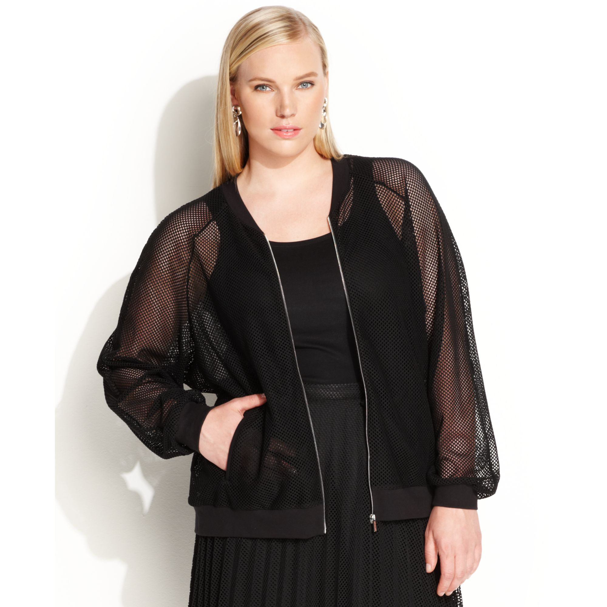 37fcbc083fdb2 Lyst - Calvin Klein Plus Size Longsleeve Mesh Bomber Jacket in Black