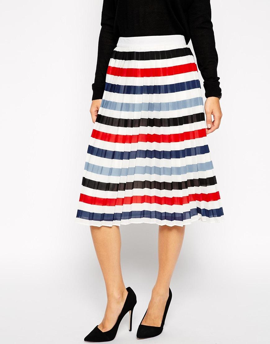 asos pleated midi skirt in stripe lyst