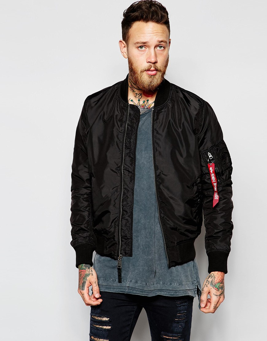Alpha industries Ma-1 Bomber Jacket in Black for Men | Lyst