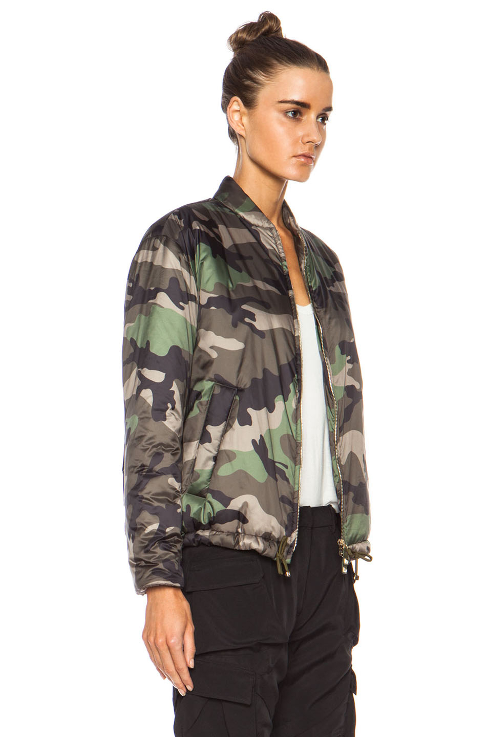 Valentino Short Camo Puffer Poly Jacket In Green Lyst