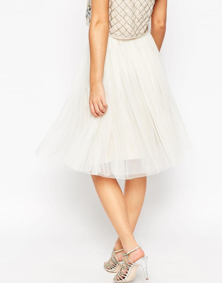 needle thread tulle ballet midi skirt in white lyst
