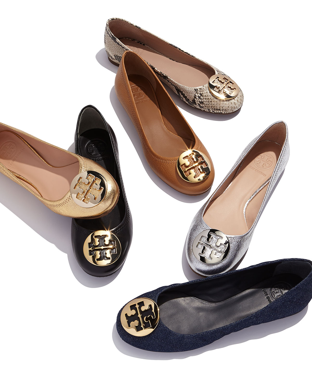 e76dd0581 Lyst - Tory Burch Reva Metallic Ballet Flats in Metallic