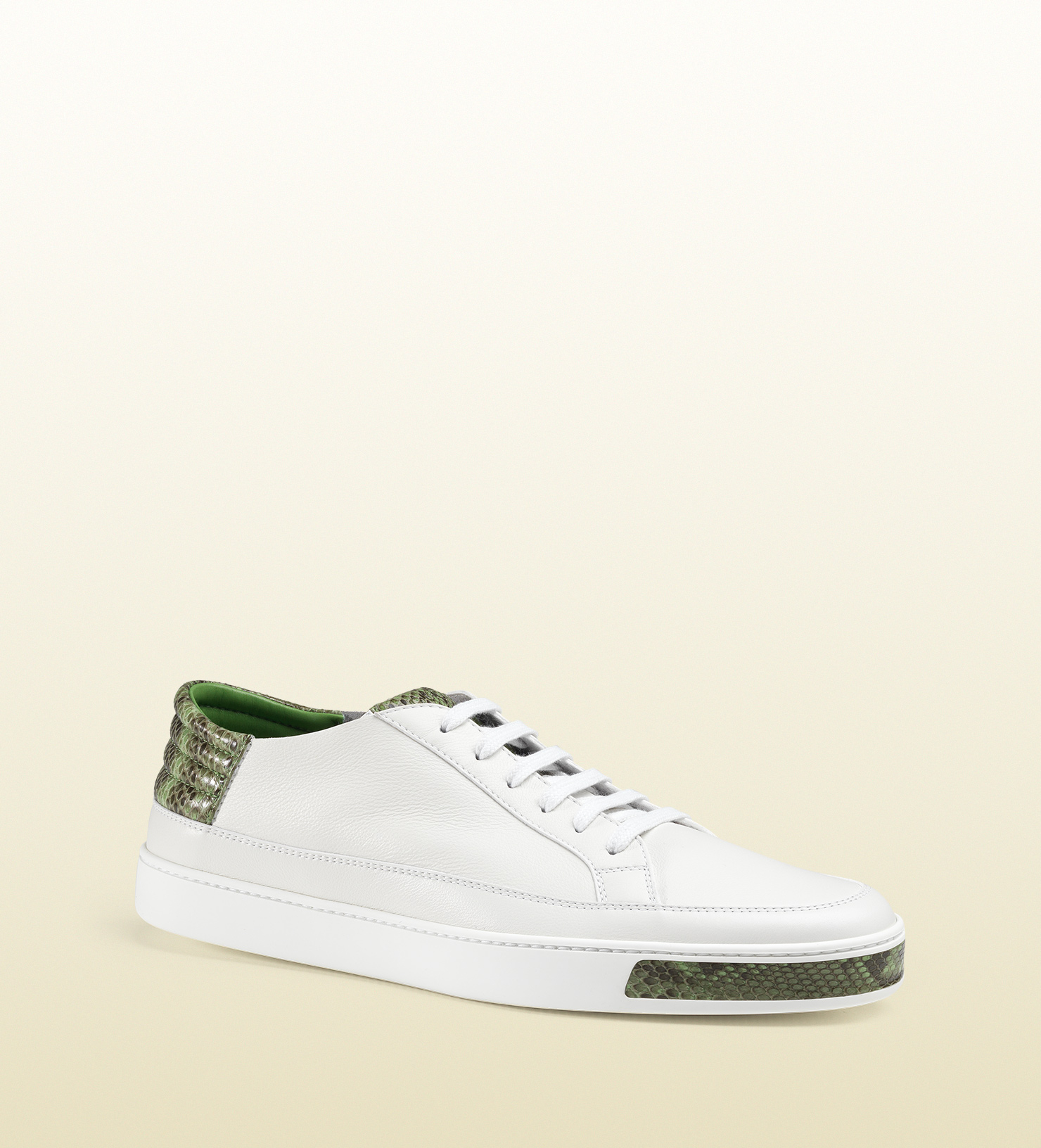 6cd86ad4004 Lyst - Gucci Online Exclusive Leather And Python Low-top Sneaker in ...