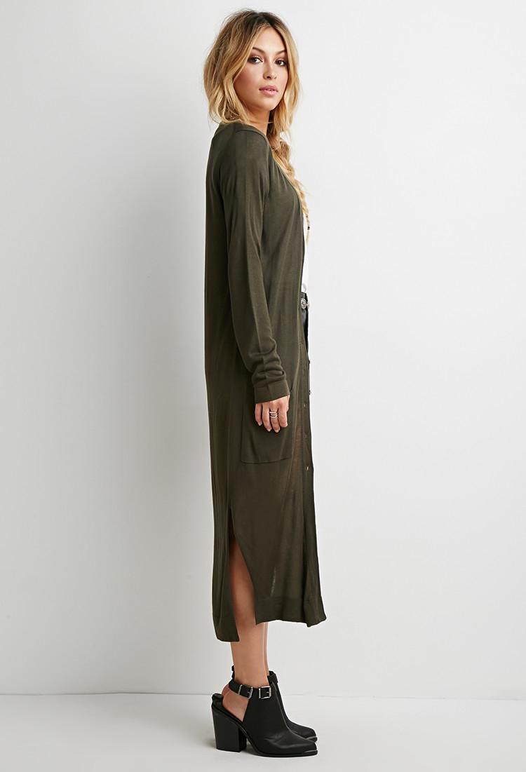 Forever 21 Longline Buttoned Cardigan in Green | Lyst