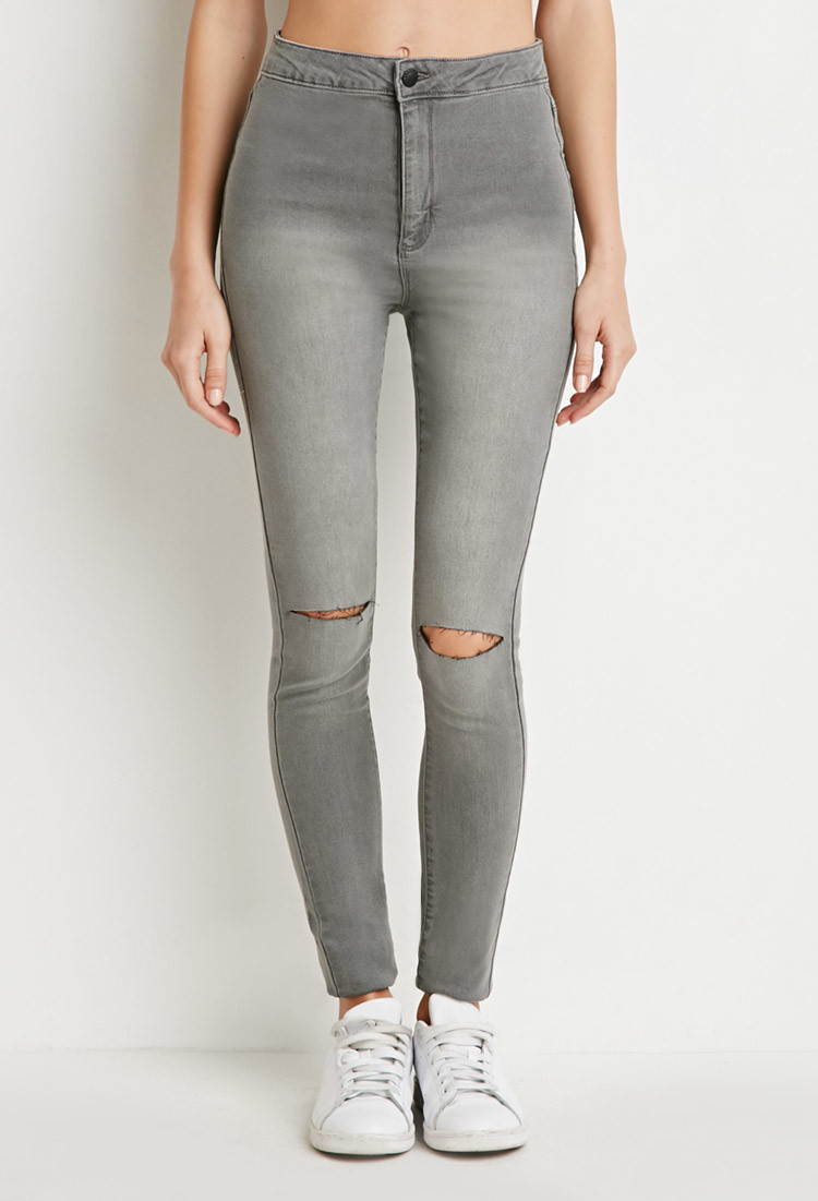 forever 21 ripped skinny jeans in gray grey lyst. Black Bedroom Furniture Sets. Home Design Ideas