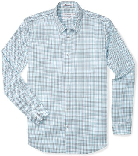 Calvin klein white label body slim fit multi check grid for Calvin klein slim fit stretch shirt